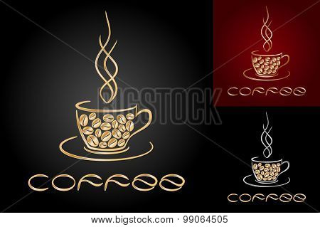 Set Of Card Templates With Cup And Golden Coffee Beans.