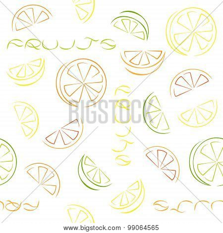 Citrus Slices Seamless Pattern On White Background.