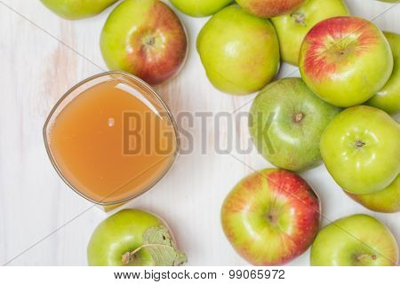 Glass Of Apple Juice And Green Apples