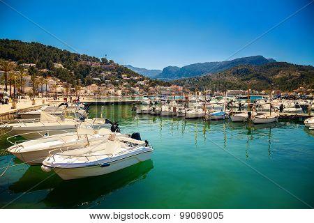 Mooring Line With Boats In Port De Soller