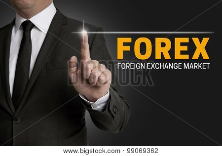 Forex Touchscreen Is Operated By Businessman