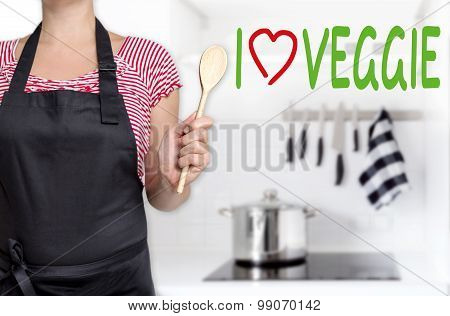 I Love Veggie Chef Holding Cooking Spoon Background