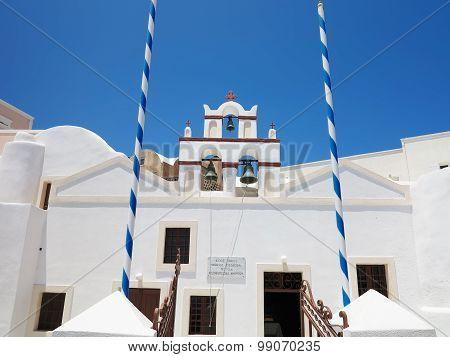 18.06.2015 SANTORINI, GREECE. Beautiful Typical Blue Dome Church And Blue Sky On Santorini, Greece