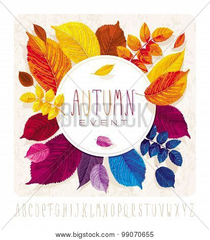 Autumn Leaves Grunge Circle
