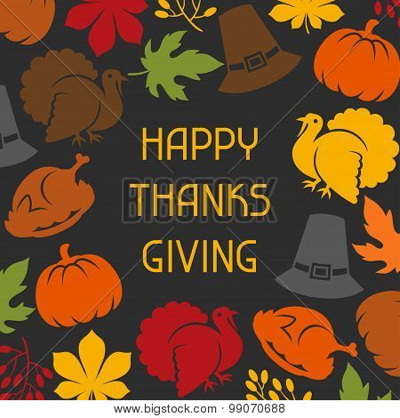 Happy Thanksgiving Day card design with holiday objects