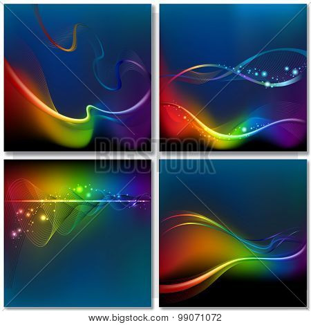 Abstract rainbow on dark wave background