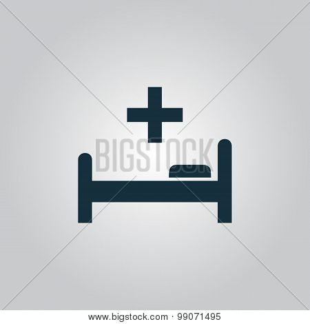 Hospital bed and cross, vector icon