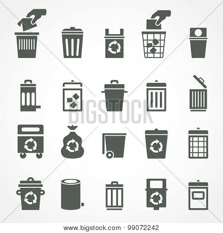 Trash can and recycle bin icons