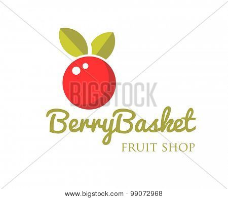 Vector modern bright red berry with leaf logo