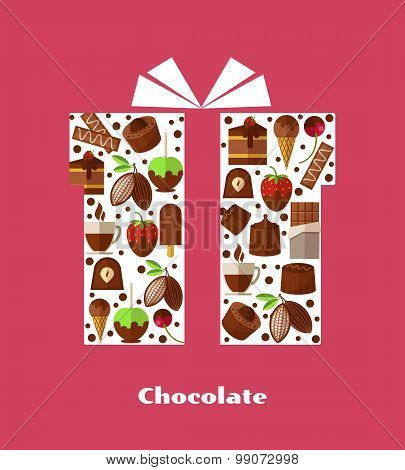 Gift card template with sweets, chocolate and other sweet food