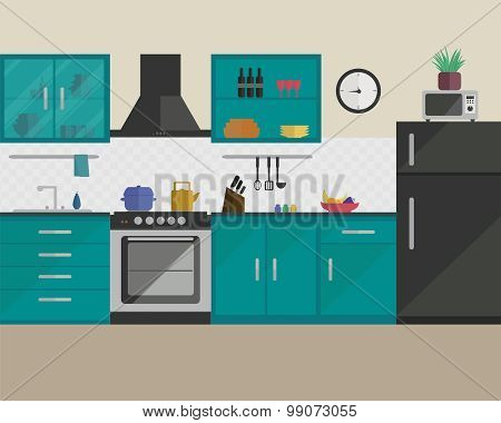 Kitchen in flat style with furniture