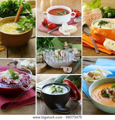 collage menu different soups (mushroom, lentil, tomato, beetroot, pumpkin)