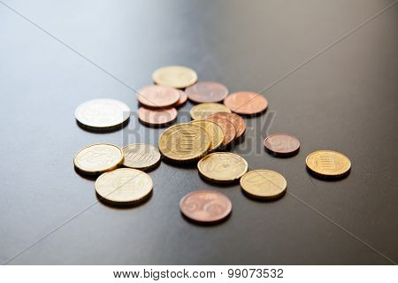Euro Cent Coins On The Table