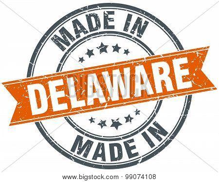 Delaware Orange Grunge Ribbon Stamp On White