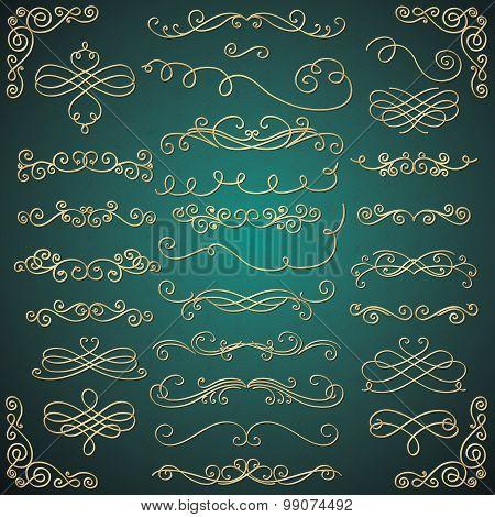 Vector Golden Luxury Glossy Vintage Swirls Collection