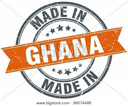 Ghana Orange Grunge Ribbon Stamp On White