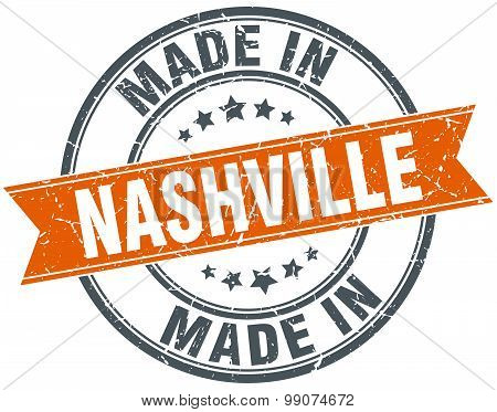 Nashville Orange Grunge Ribbon Stamp On White