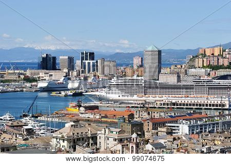Panoramic View Of The Harbor And The Skyscrapers Of Genoa