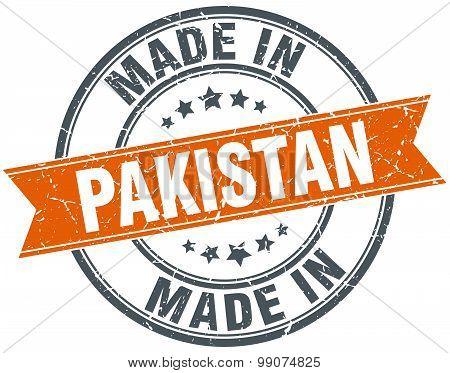 Pakistan Orange Grunge Ribbon Stamp On White