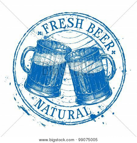 fresh beer vector logo design template. Shabby stamp or pub, ale, brewery icon