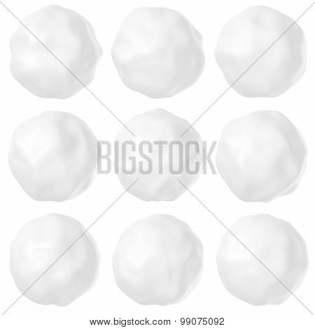 Snowballs Or Hailstones On White