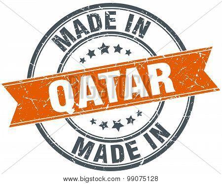 Qatar Orange Grunge Ribbon Stamp On White