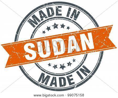 Sudan Orange Grunge Ribbon Stamp On White