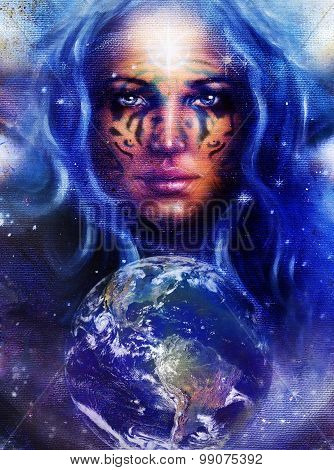 Goddess Woman with tattoo on face in space with light stars and Earth
