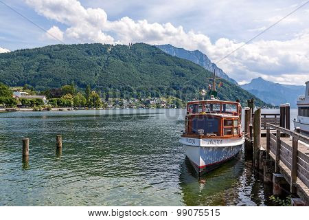 Boat At Jetty Of Lake Traunsee