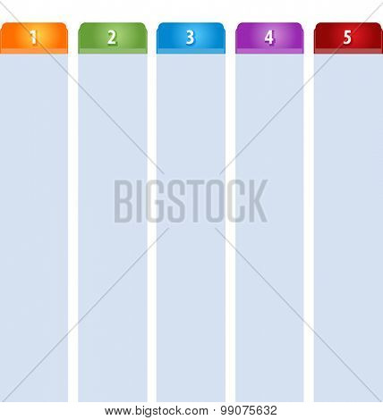 Blank business strategy concept infographic diagram illustration Tab Items Five