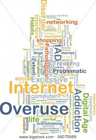 Background concept wordcloud illustration of internet overuse