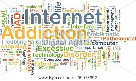 Background concept wordcloud illustration of internet addiction