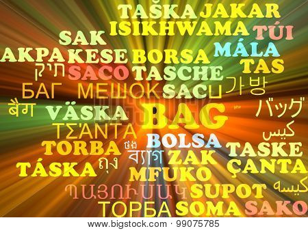 Background concept wordcloud multilanguage international many language illustration of bag glowing light