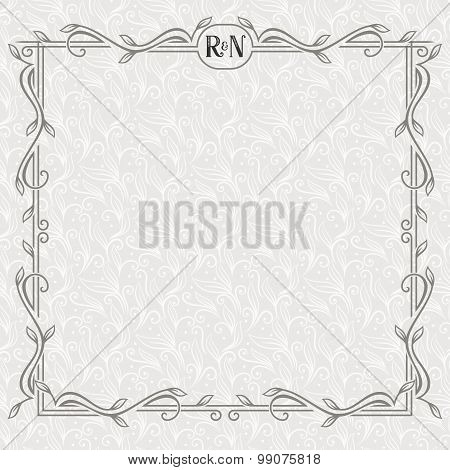 Vector floral border with copy space. Ornate frame on the light seamless pattern.