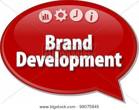 Speech bubble dialog illustration of business term saying Brand Development