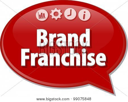 Speech bubble dialog illustration of business term saying Brand Franchise