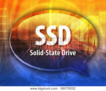 Speech bubble illustration of information technology acronym abbreviation term definition SSD Solid State Drive