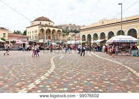 Monastiraki Square In Athens, Greece