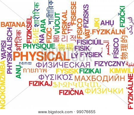 Background concept wordcloud multilanguage international many language illustration of physical