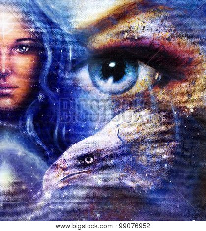 Goddess Woman in space with light stars and eagles head, women  Eye contact, Abstract color backgrou