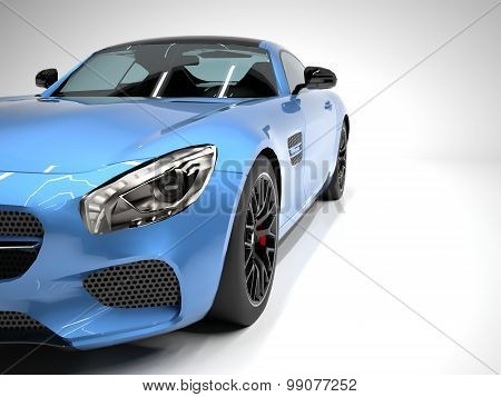 Sports car front view. The image of a sports blue car on a white background.