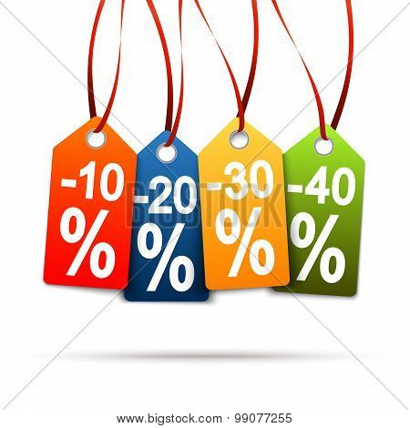 Four Colored Hangtags With Discounts