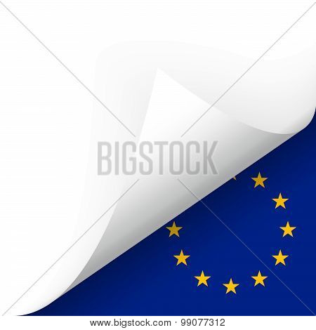 Paper - Bottom Corner - Country Flag Of Eu