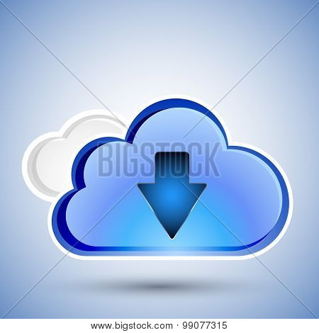 Cloud Computing Download Icon, Vector Illustration