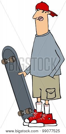Skater dude with a longboard
