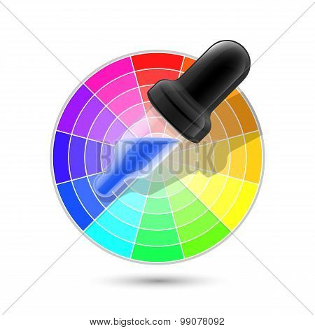 Vector Color Wheel Palette And Dropper Icon On White Background