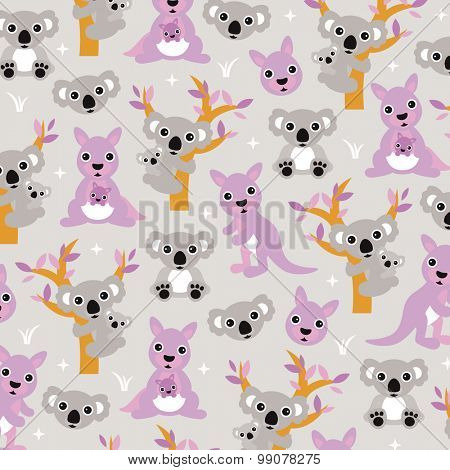 Australian kangaroos and koala bear mom and baby cute nursery design illustration background pattern in vector