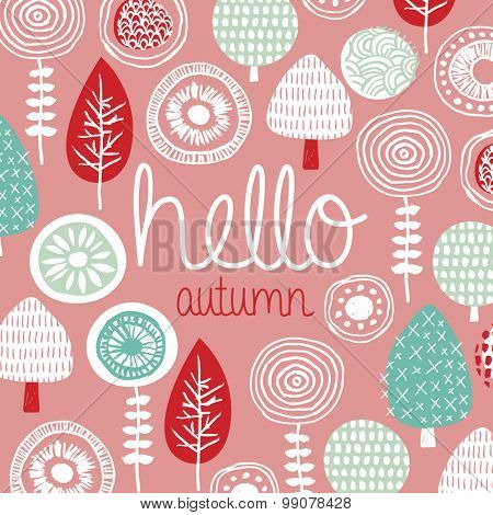 Hello Autumn leaves flowers and fall winter garden illustration postcard cover design template typography background pattern in vector