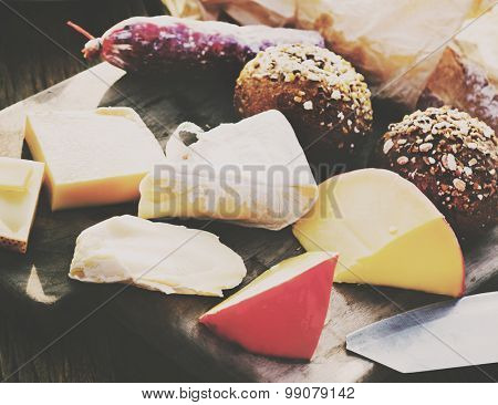 Cheese Platter Variety Appetiser Bread Concept