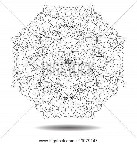 Mandala element. Symmetric zentangle.